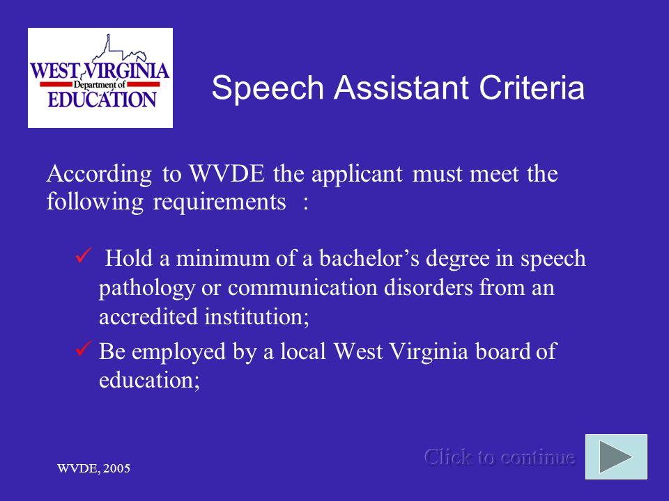 Speech Assistant Criteria