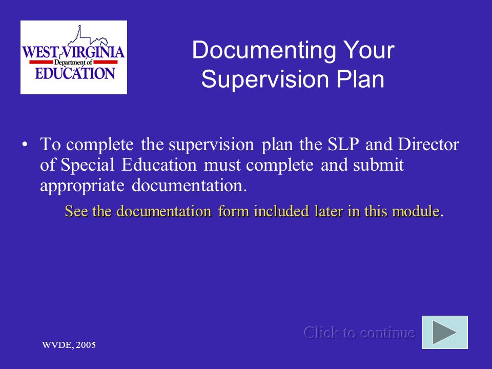 Documenting Your Supervision Plan