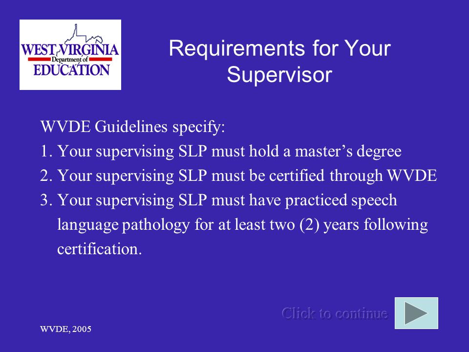 Requirements for Your Supervisor