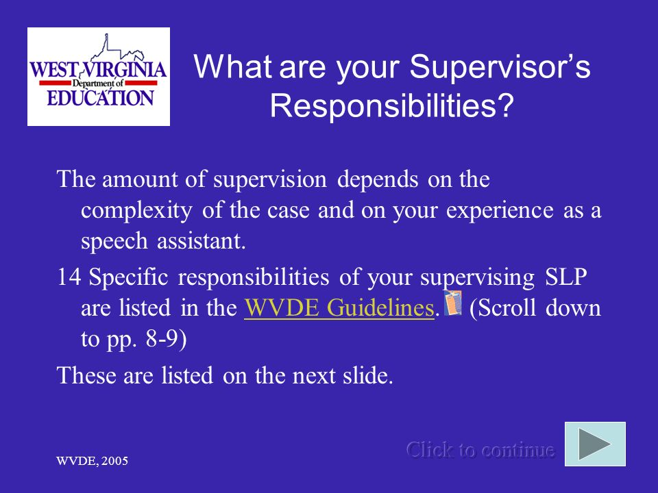 What are your Supervisor's Responsibilities