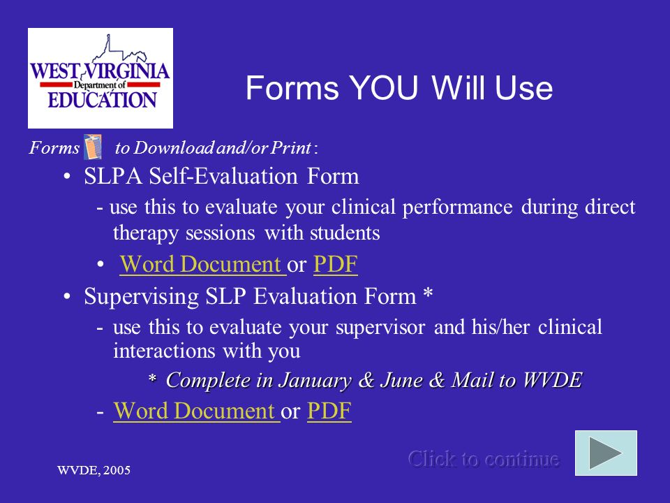 Forms YOU Will Use SLPA Self-Evaluation Form Word Document or PDF