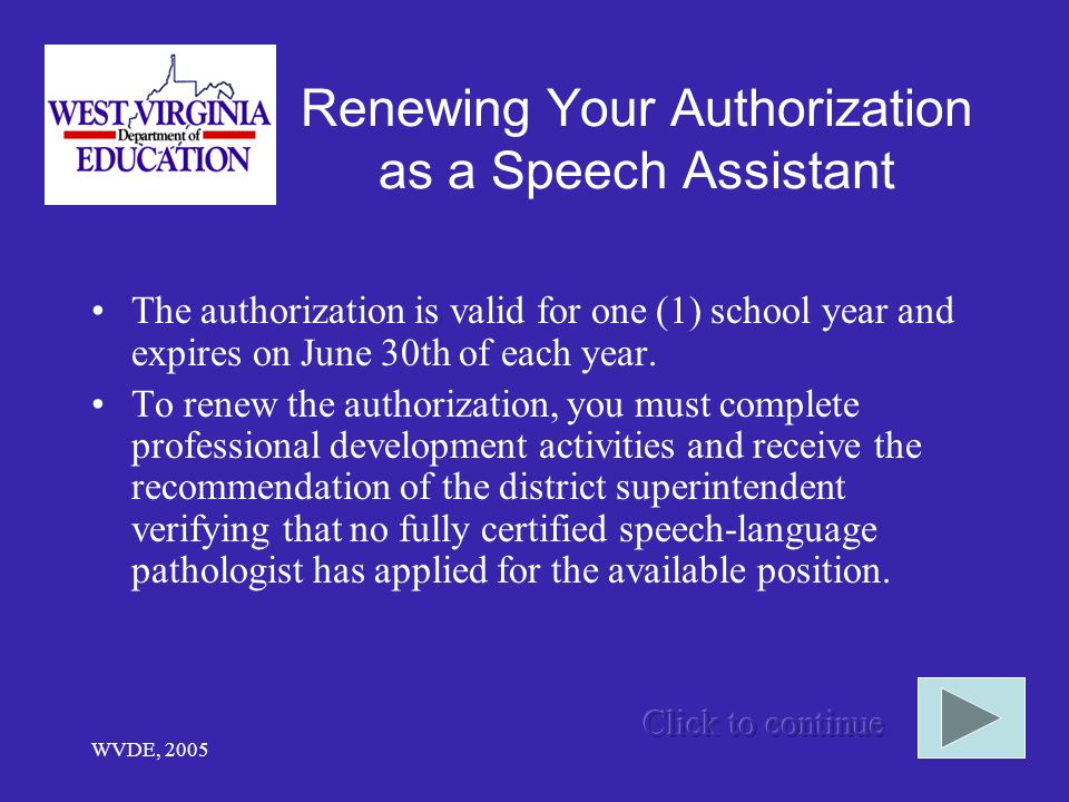 Renewing Your Authorization as a Speech Assistant