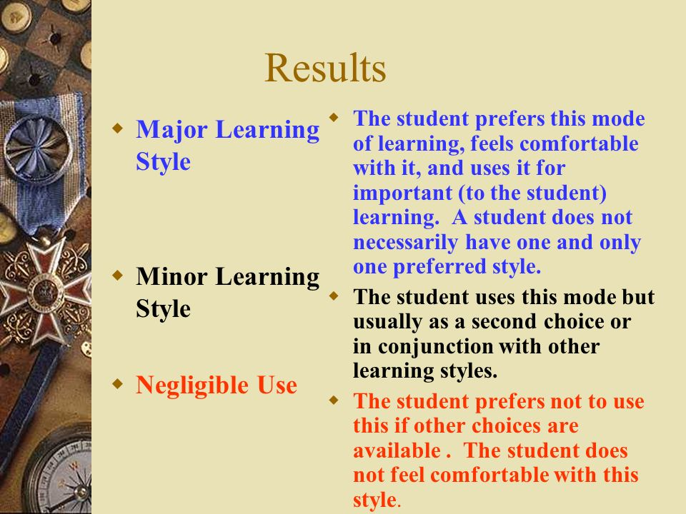 Results Major Learning Style Minor Learning Style Negligible Use
