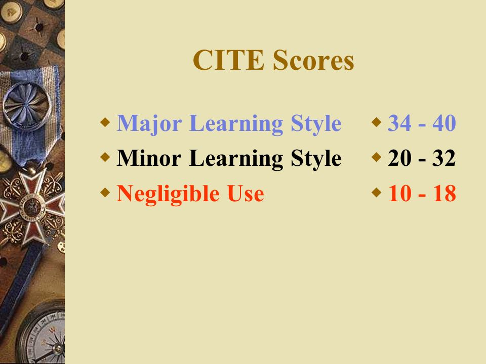CITE Scores Major Learning Style Minor Learning Style Negligible Use