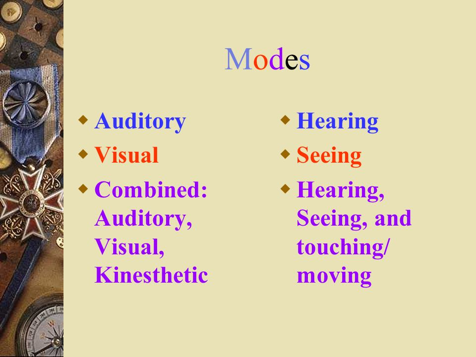 Modes Auditory Visual Combined: Auditory, Visual, Kinesthetic Hearing