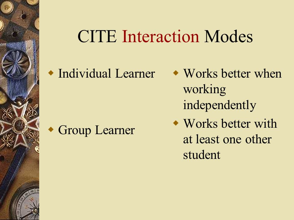 CITE Interaction Modes