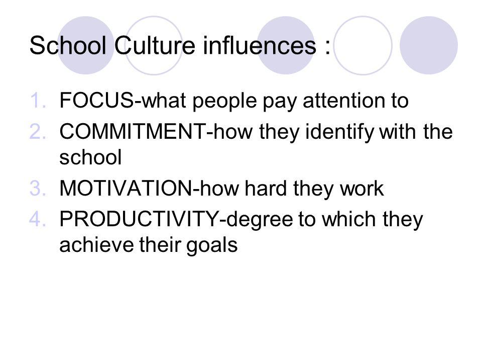School Culture influences :