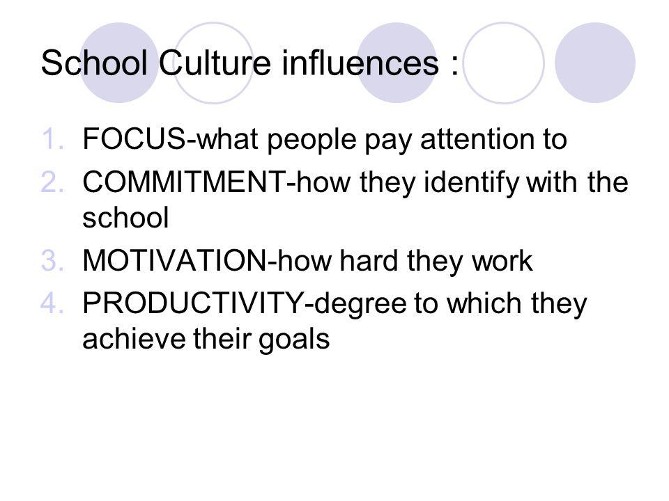 School Culture influences :