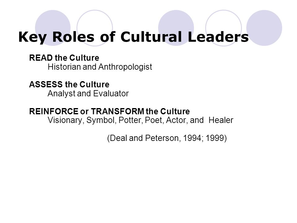 Key Roles of Cultural Leaders