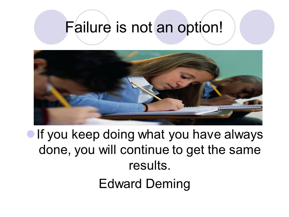 Failure is not an option!