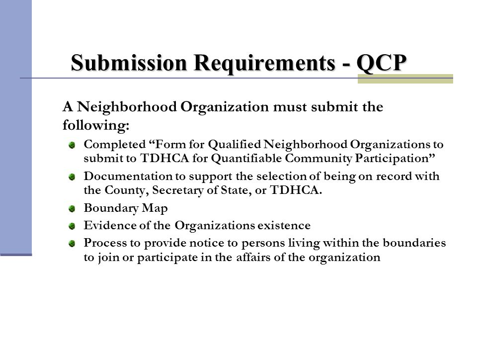 Applicant's Role (QCP)