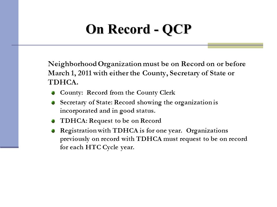 Submission Requirements - QCP