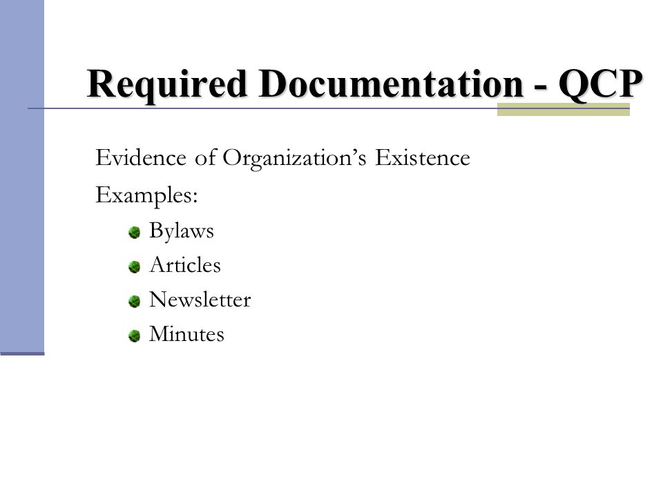 Required Documentation - QCP