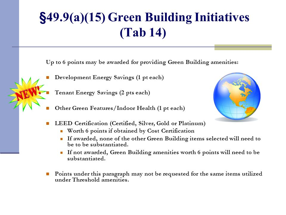 §49.9(a)(14) Pre-Application Incentive Points (Tab 13)