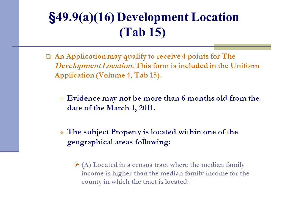 §49.9(a)(15) Green Building Initiatives (Tab 14)