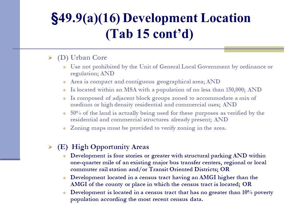 §49.9(a)(16) Development Location (Tab 15 cont'd)