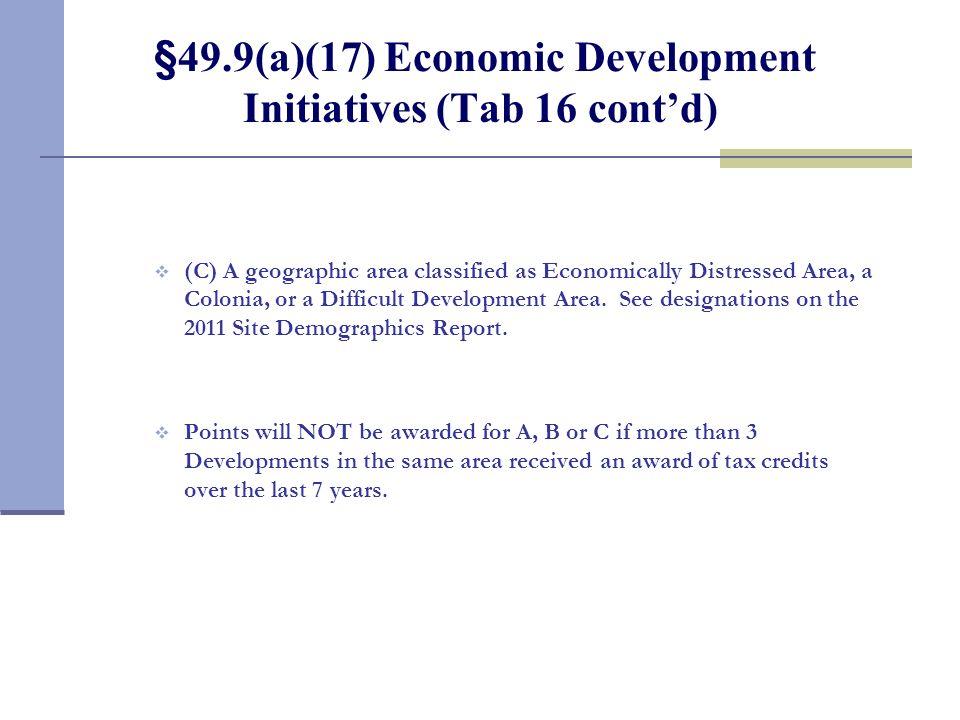 §49.9(a)(17) Economic Development Initiatives (Tab 16 cont'd)