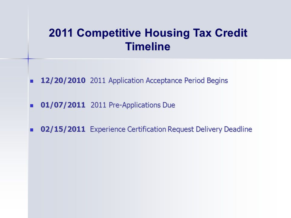 Competitive Housing Tax Credit Timeline