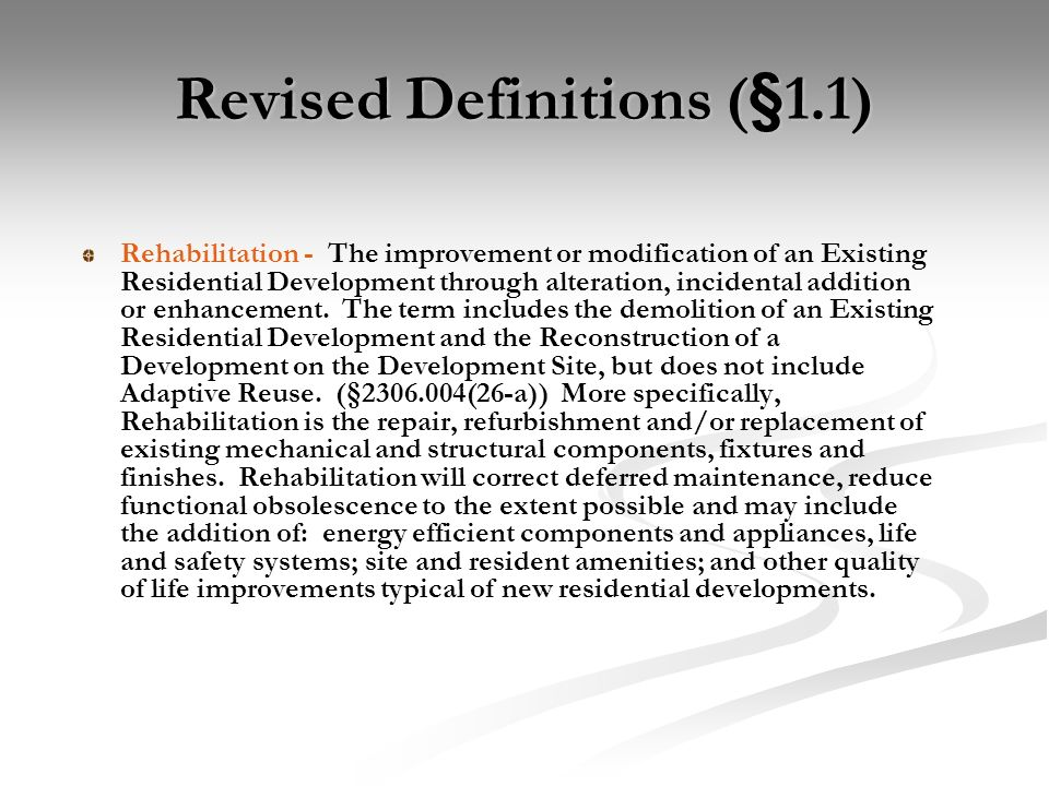 Revised Definitions (§1.1)