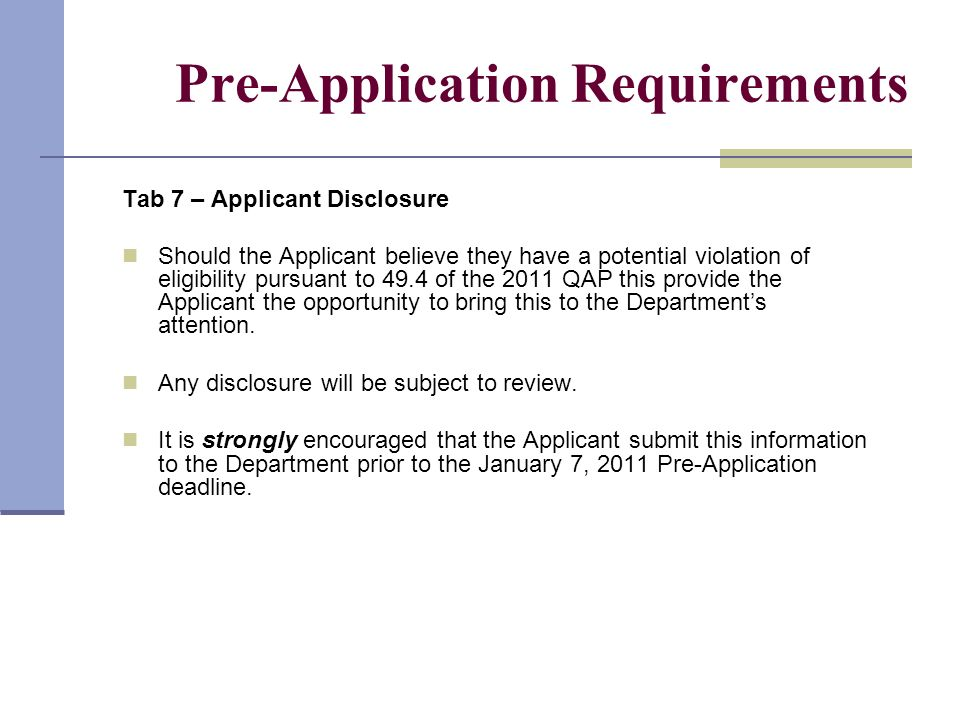Pre-Application Requirements