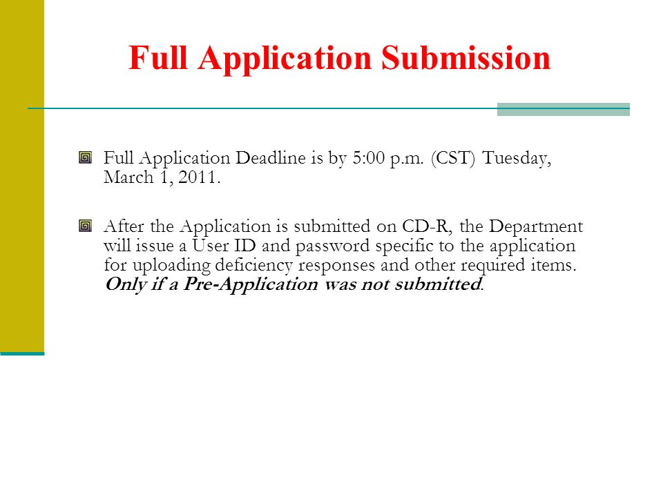 Full Application Submission