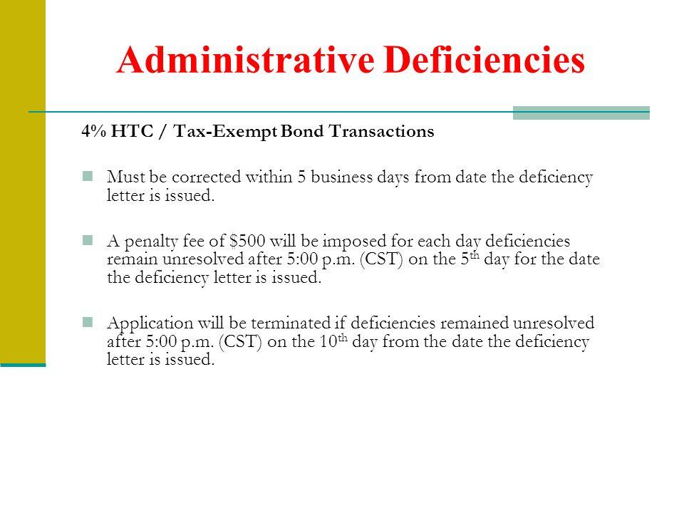 Administrative Deficiencies