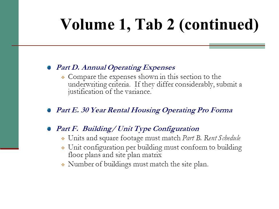 Volume 1, Tab 2 Part A. Populations Served Part B. Rent Schedule