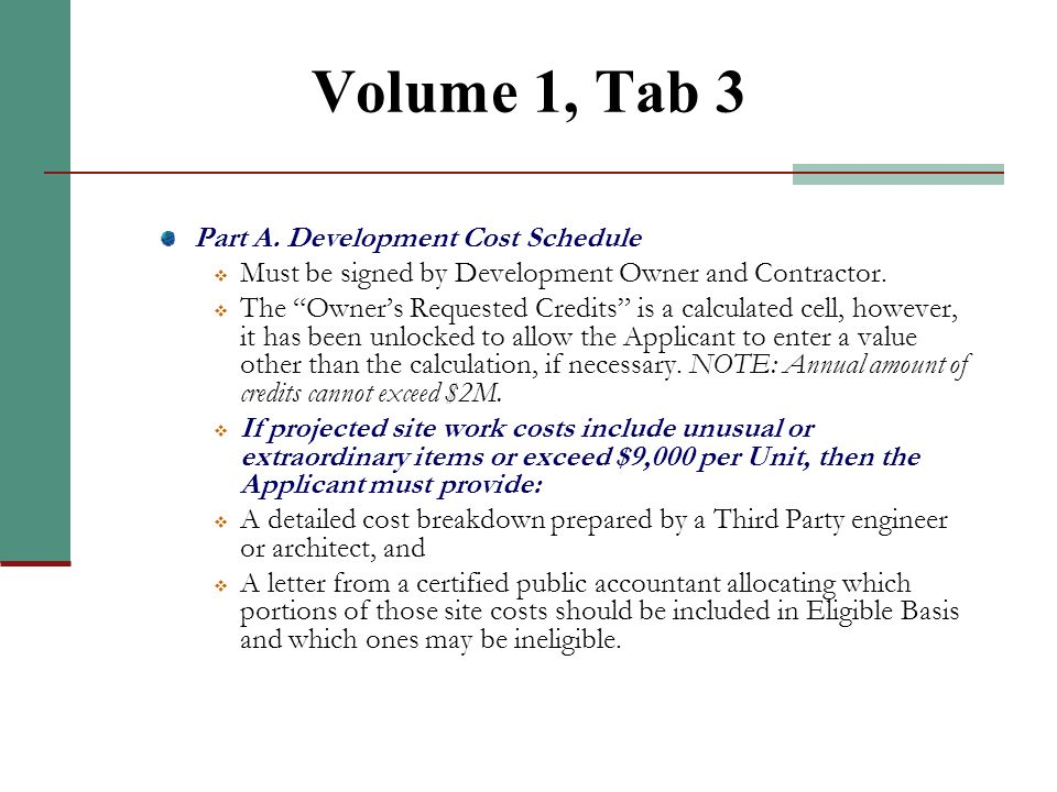 Volume 1, Tab 2 (continued)