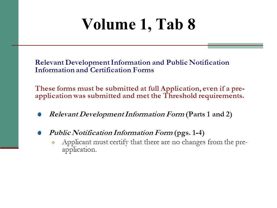 Volume 1, Tab 7 Part A. HTC Application Supplement