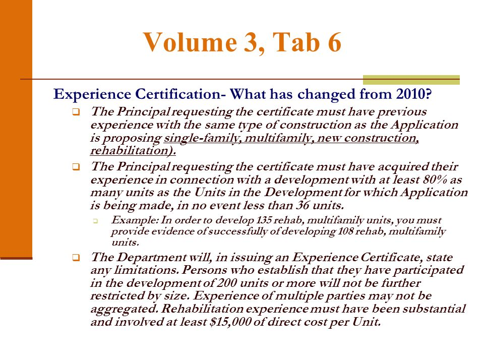 Volume 3, Tab 6 Experience Certification