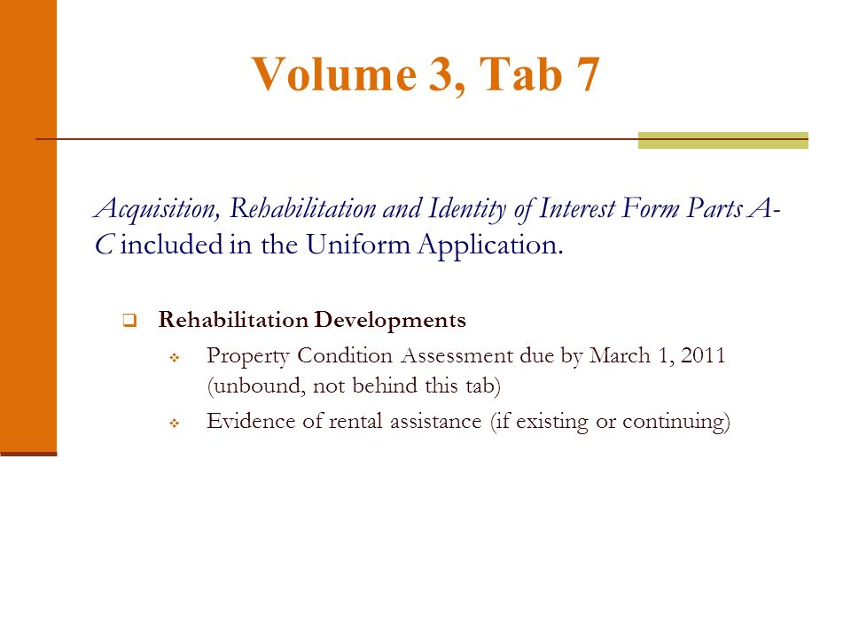 Volume 3, Tab 6 Experience Certification- What has changed from 2010