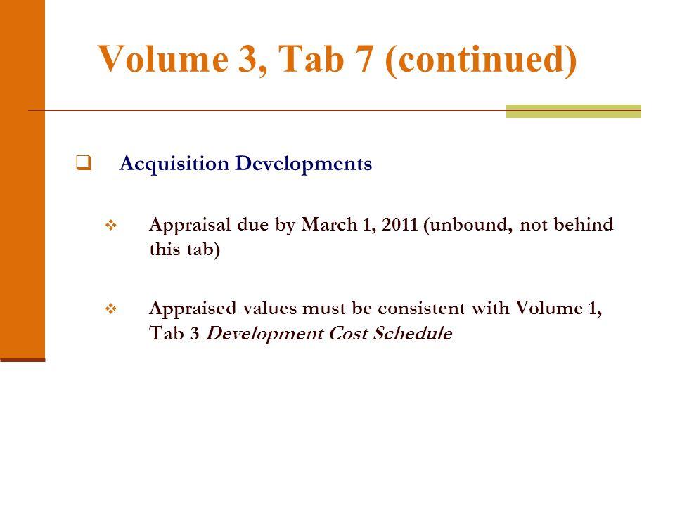 Volume 3, Tab 7 Occupied Developments