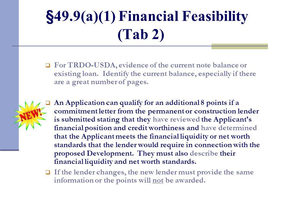 §49.9(a)(1) Financial Feasibility (Tab 2)