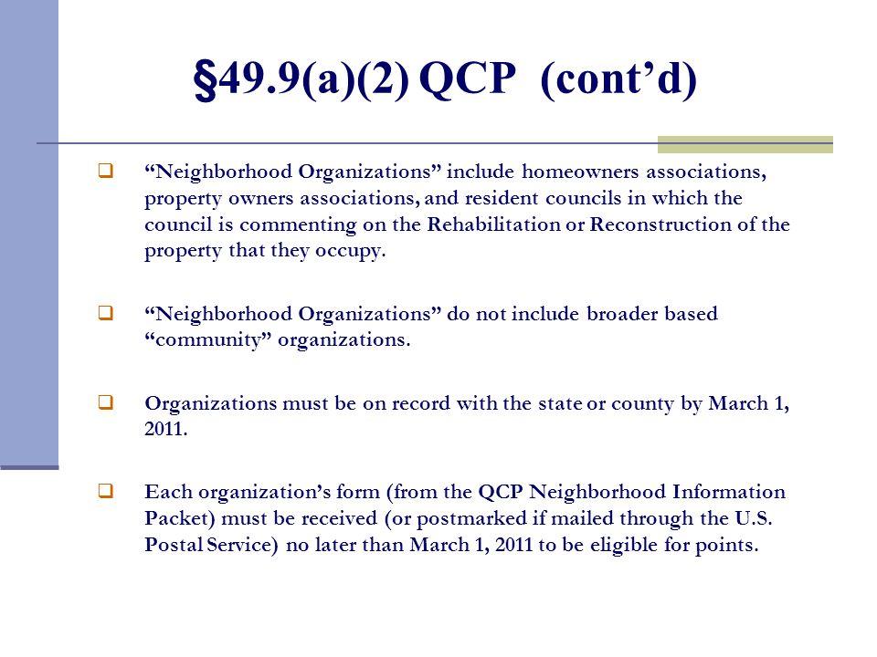 §49.9(a)(2) Quantifiable Community Participation (QCP)