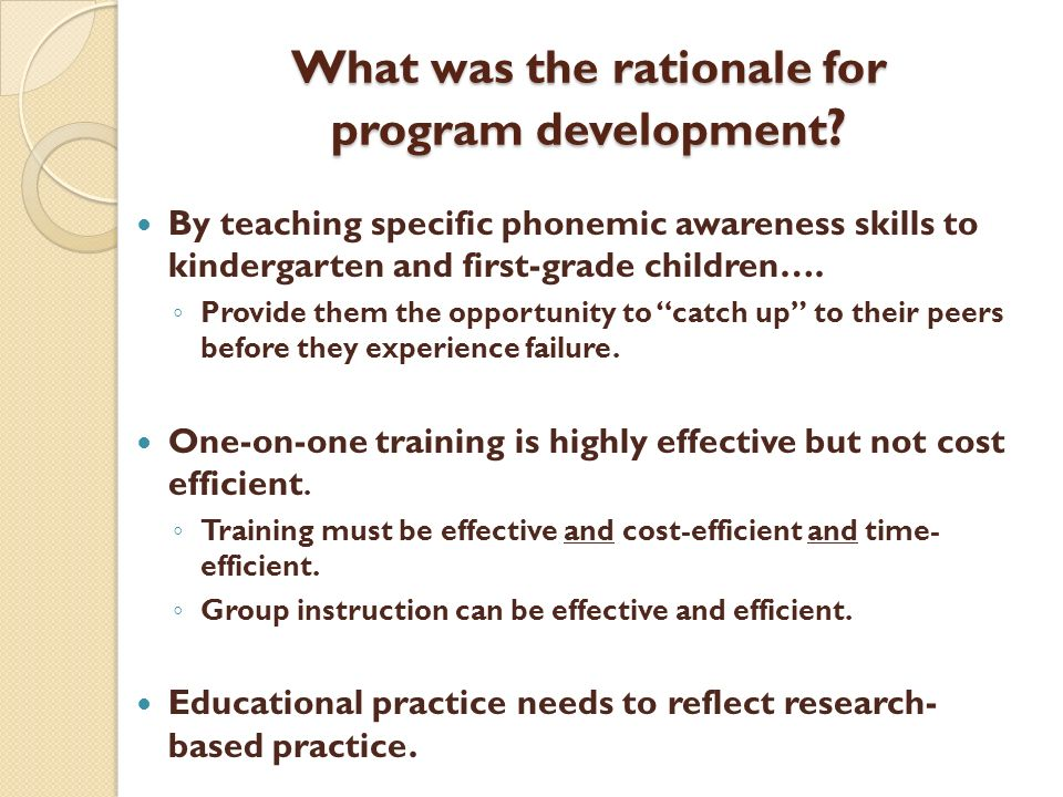 What was the rationale for program development