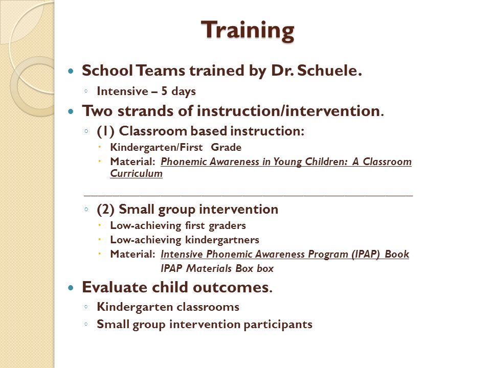 Training School Teams trained by Dr. Schuele.