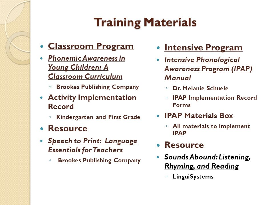 Training Materials Intensive Program Classroom Program Resource