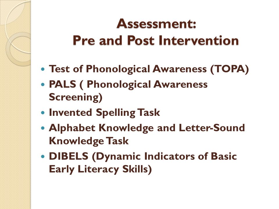Assessment: Pre and Post Intervention