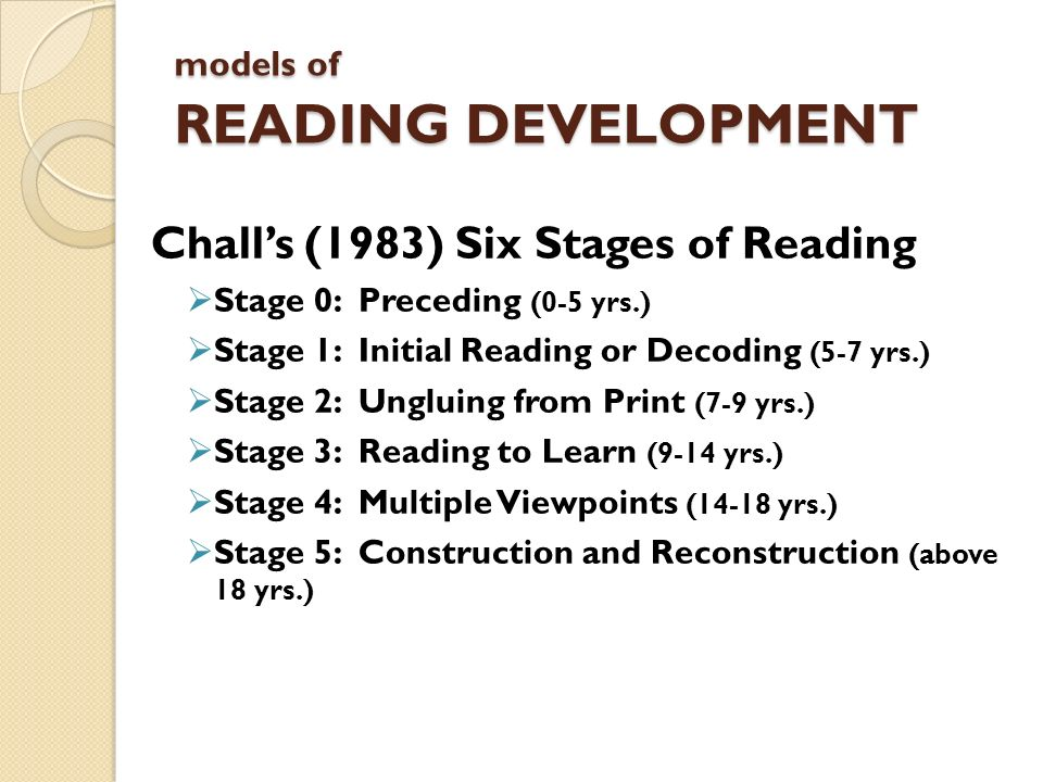 models of READING DEVELOPMENT