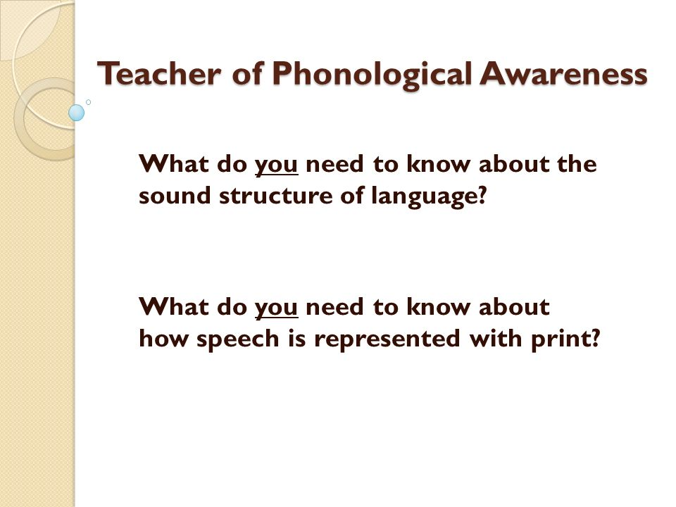Teacher of Phonological Awareness
