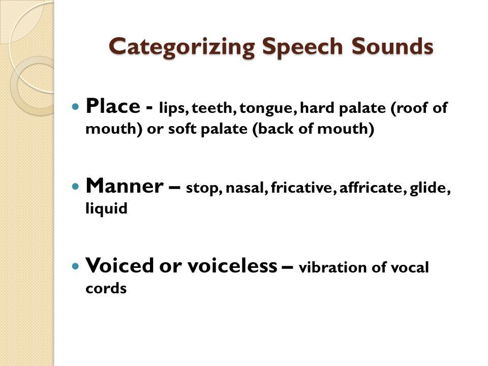 Categorizing Speech Sounds