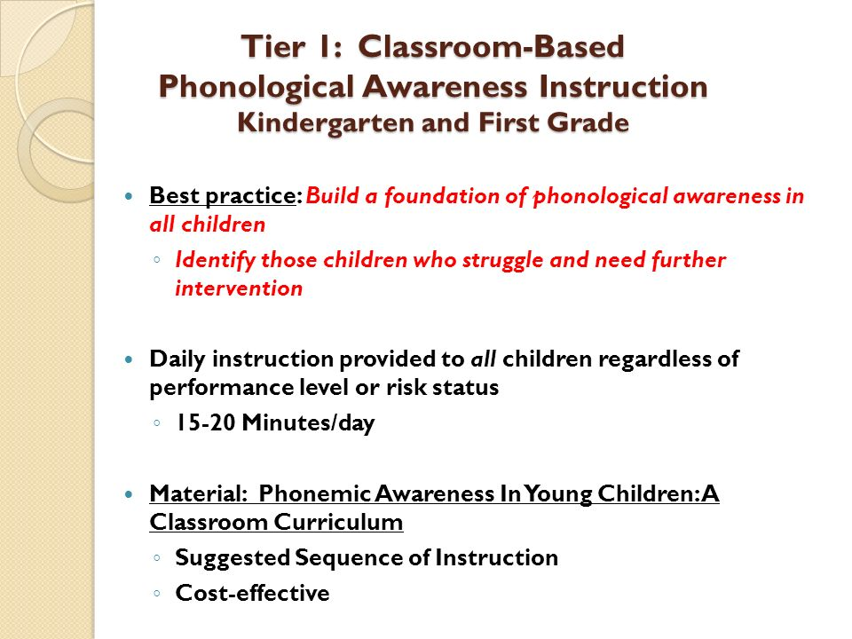 Tier 1: Classroom-Based Phonological Awareness Instruction Kindergarten and First Grade