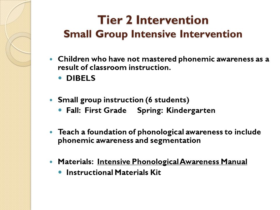 Tier 2 Intervention Small Group Intensive Intervention