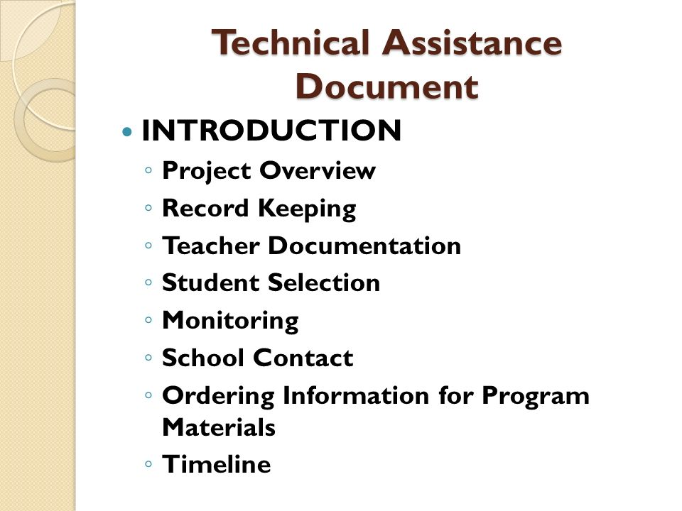 Technical Assistance Document