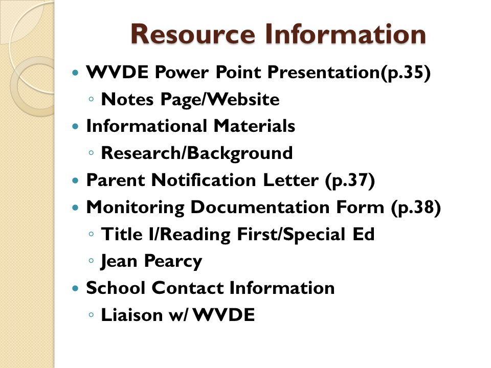 Resource Information WVDE Power Point Presentation(p.35)
