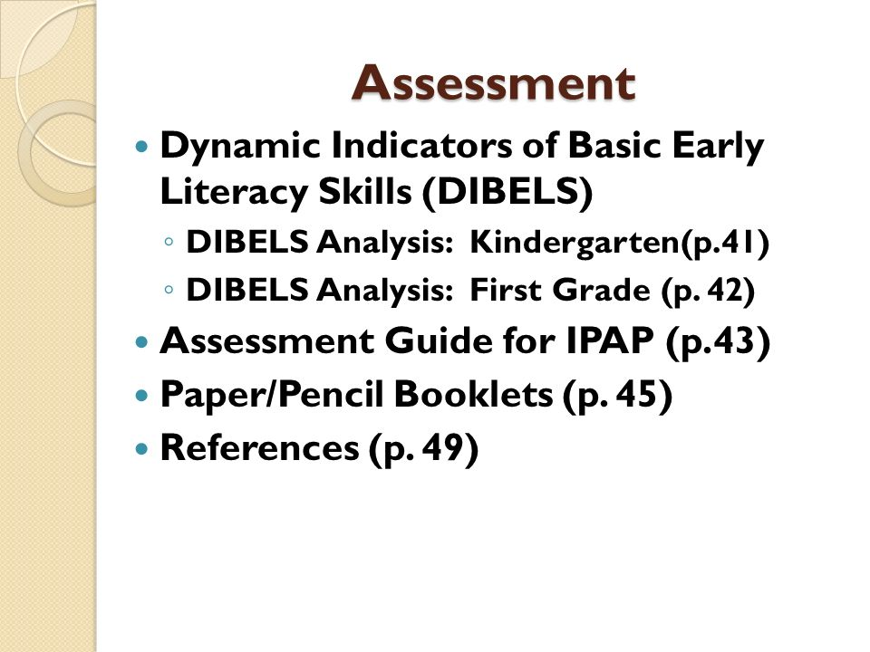 Assessment Dynamic Indicators of Basic Early Literacy Skills (DIBELS)