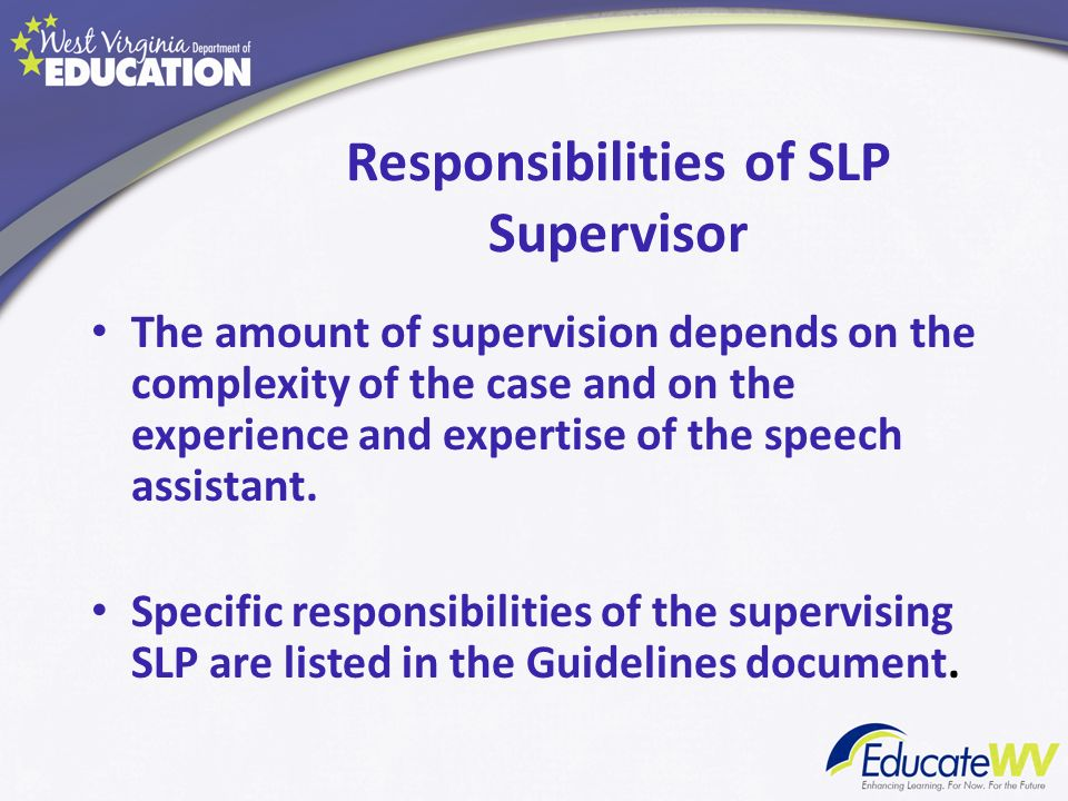 Responsibilities of SLP Supervisor