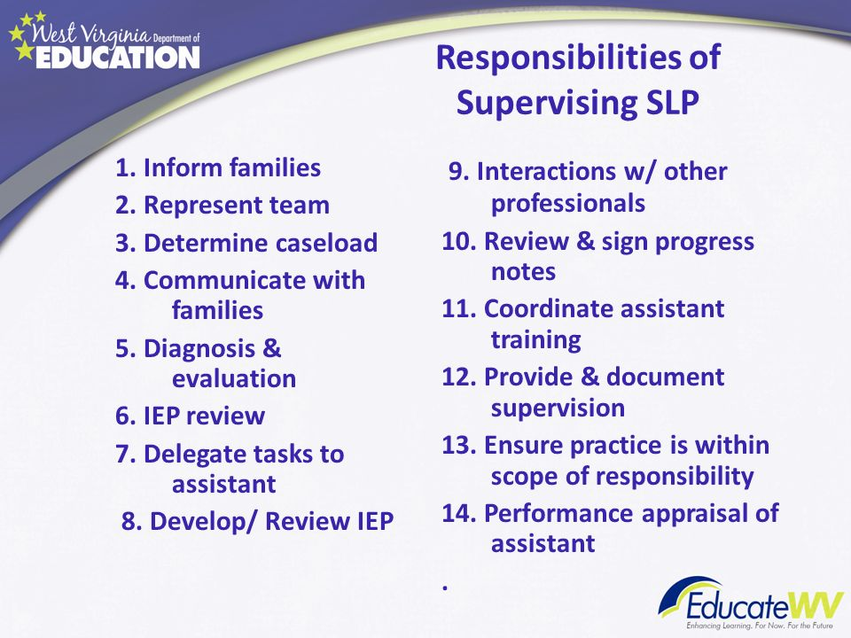 Responsibilities of Supervising SLP