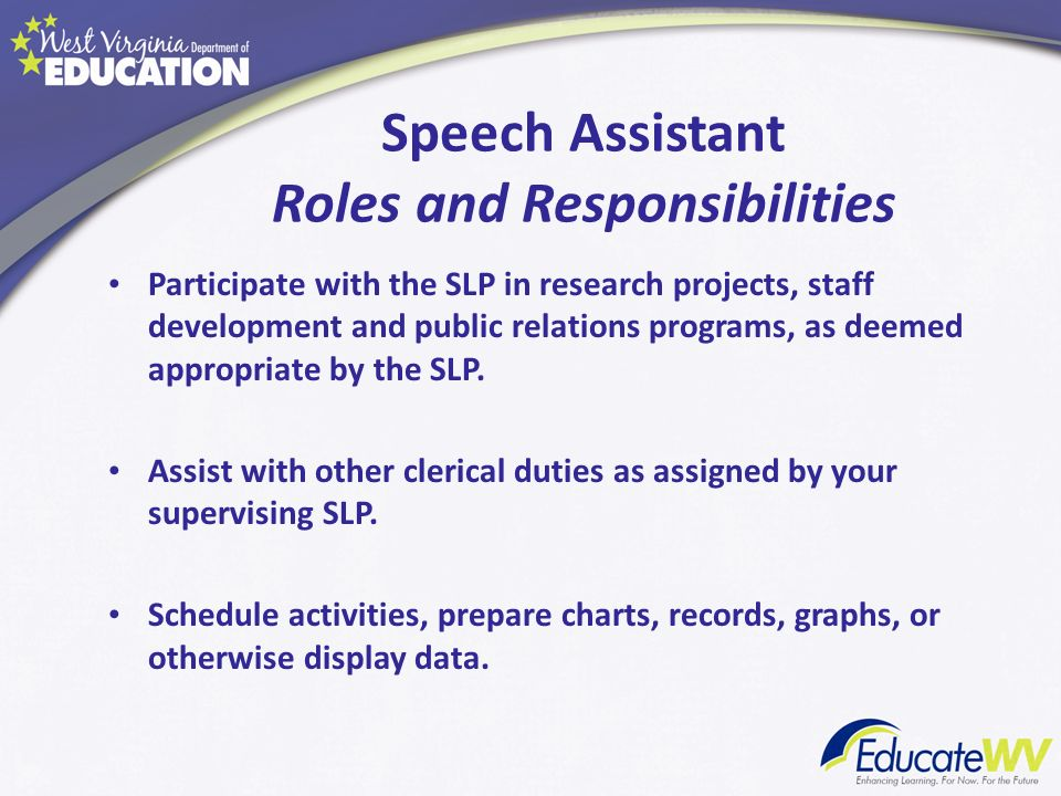 Speech Assistant Roles and Responsibilities