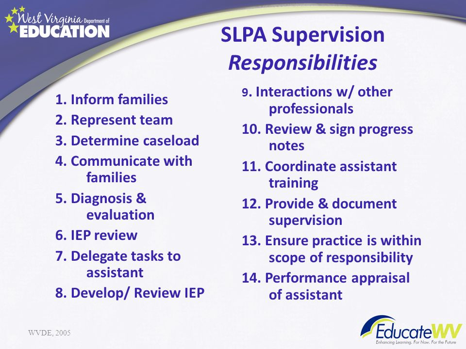 SLPA Supervision Responsibilities